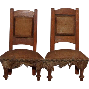 1:1 Antique chairs for dollhouse, wood, silk upholstery