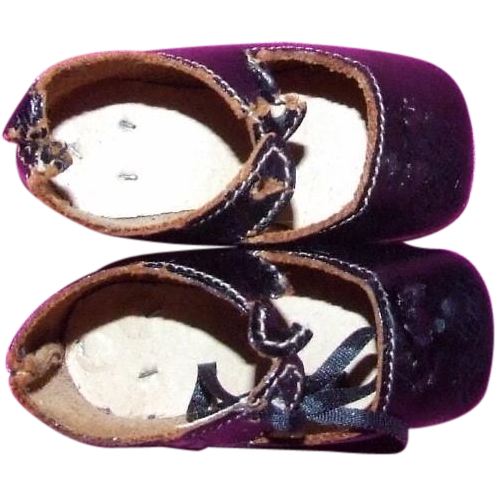 Pair of Antique German doll shoes