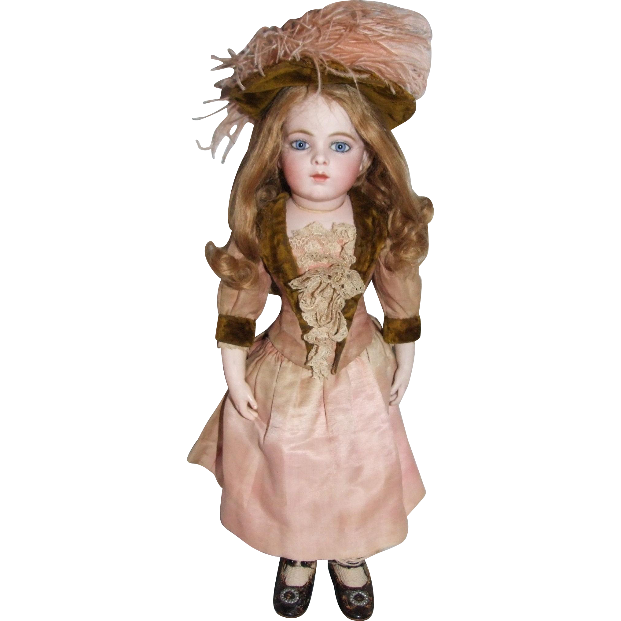 Original 1880s antique Bru Jne 6 dress, peach silk-satin