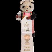 "6-3/4"" Thirsty Bear, mechanical Panda Bear in box"