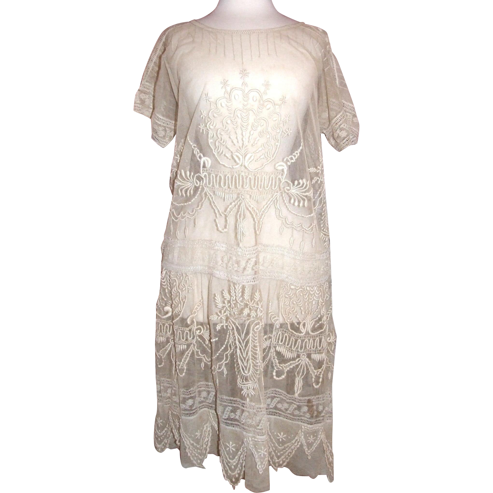 Lovely, Lavish pre 1921 vintage gauze lace dress
