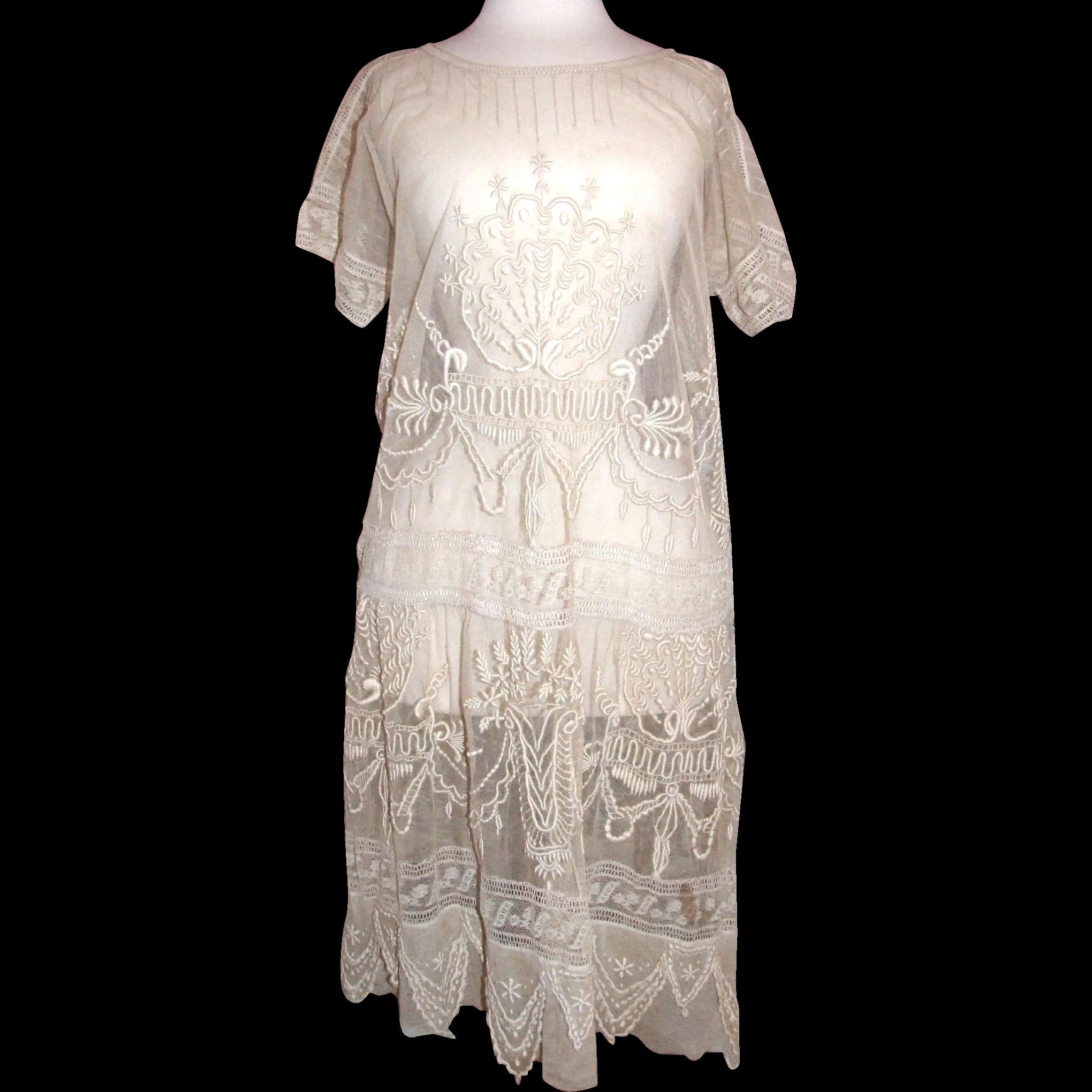 Lovely, Lavish pre 1921 vintage gauze lace dress