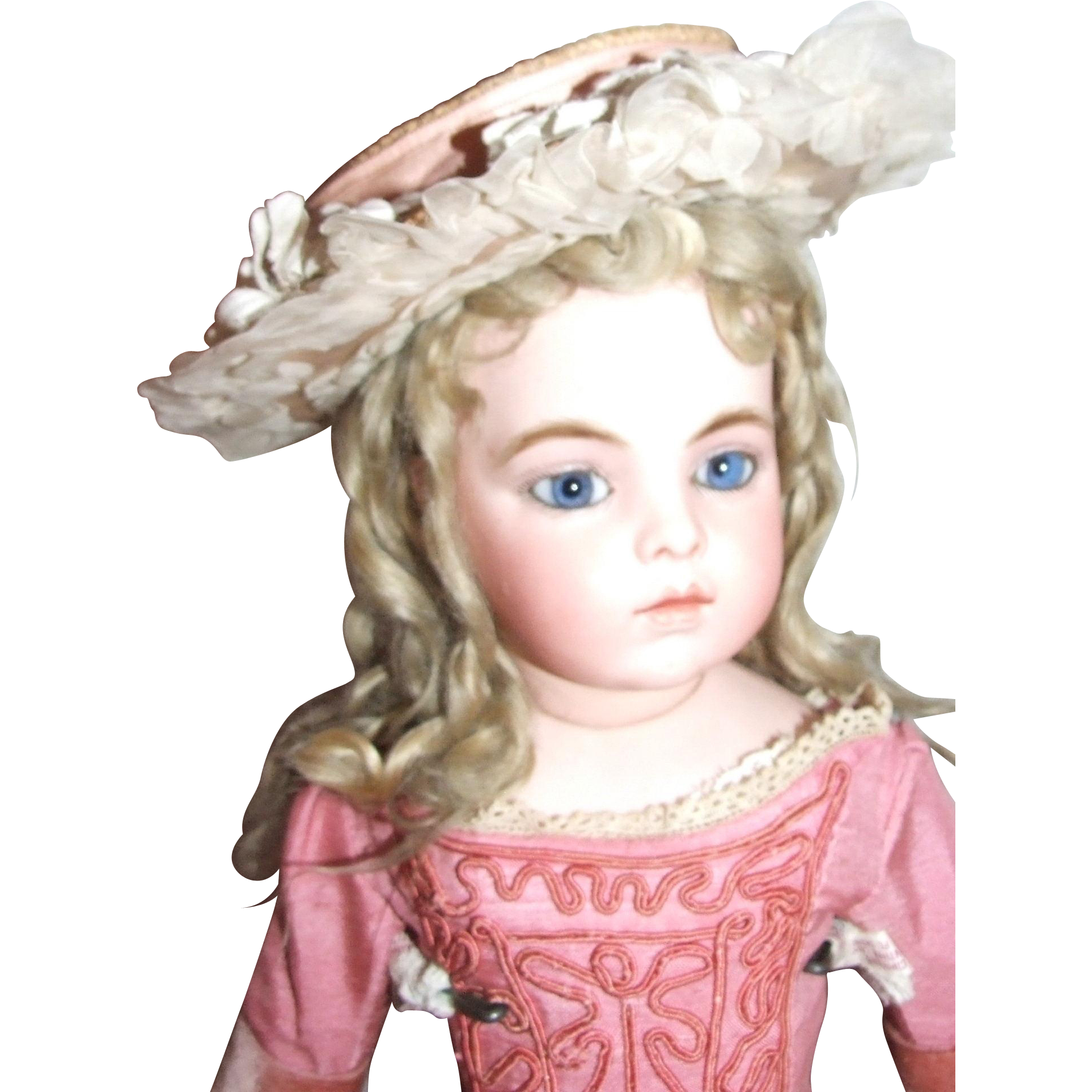 "Antique French straw hat,  for 20-22"" doll"