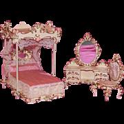 Exceptional 3 pc. bedroom suite 1961 Spielwaren doll furniture from original owner