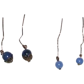 2 Pair blue stone antique earrings for doll