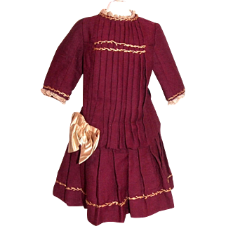 """Antique red wool dress for 22"""" bebe"""