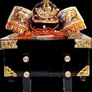 Small Kabuto Japanese samurai helmet w/box; 1960;s