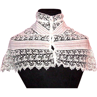 Antique linen and lace collar, ca 1880s