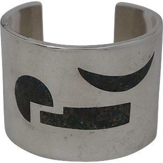 """1 3/4"""" Abstract IZ Mexican Sterling Silver Stone Cuff Bracelet"""