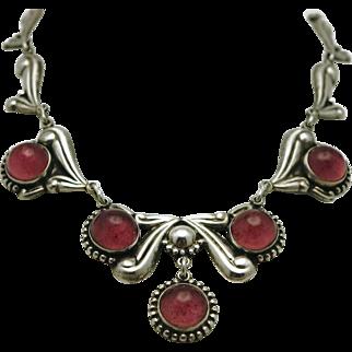 Vintage AEM Mexican Rose Quartz Repoussé Swirls Sterling Silver Necklace