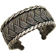 Early 1940's Hector Aguilar Taxco Mexican Sterling Silver Braid Cuff with Five-Ball Ends Bracelet