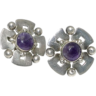 Eagle 22 Mexican Amethyst Sterling Silver Earrings
