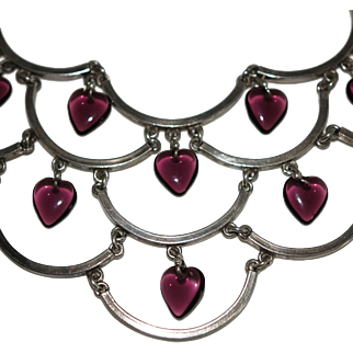 Vintage Amethyst Glass Hearts Sterling Silver Bib Necklace
