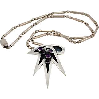 Vintage 3M Taxco Mexican Amethyst Sterling Silver Modernist Pendant Necklace