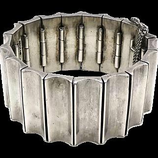 140Gr Antonio Pineda Taxco Mexican 970 Silver Concave Link Bracelet