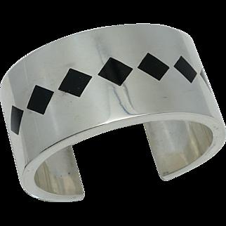 Antonio Pineda 970 Silver Diamond Shaped Onyx Taxco Mexican Cuff 108Gr