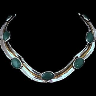 Antonio Pineda Book-Piece Jade 970 Silver Channels Taxco Mexican Necklace