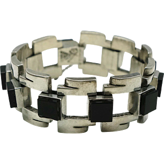 Antonio Pineda Taxco Modernist Mexican Obsidian 970 Silver Bracelet