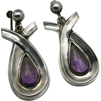 "2"" Rare Antonio Pineda Taxco Mexican Modernist Amethyst Teardrop Silver Earrings"