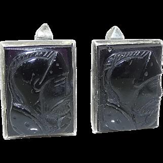 Antonio Pineda Carved Onyx Warrior Taxco Mexican Silver Cufflinks