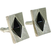Antonio Pineda Pyramidal Onyx 970 Silver Taxco Mexican Modernist Cufflinks