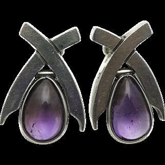 Antonio Pineda Taxco Mexican Amethyst 970 Silver Teardrop Dangle Earrings