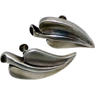 Antonio Pineda Silver By Tono Taxco Mexican Modernest Leaf Earrings