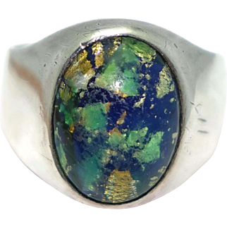 Vintage Art Plat Sterling Silver Mexican Glass Opal Ring Size 9.5