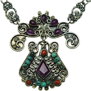 """20"""" Los Ballesteros Jeweled Sterling Silver Taxco Mexican Necklace"""