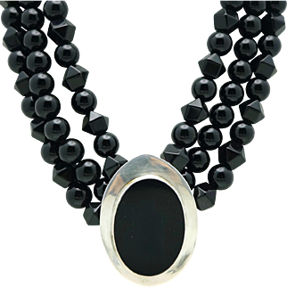 184GR Los Ballesteros Taxco Mexican Onyx Triple Sterling Silver Bead Necklace