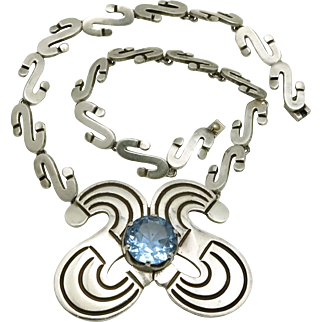Superb Los Ballesteros Taxco Mexican Blue Gemstone Sterling Silver Necklace 16""