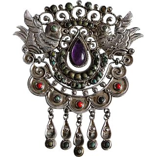 CEL Palomas Jeweled Repoussé Sterling Silver Mexico City Mexican Pin