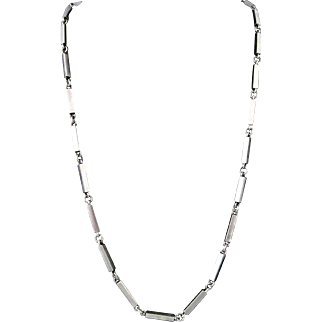"""30"""" CM Taxco Mexican 970 Silver Modernist Necklace 71GR"""