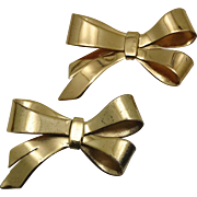 1940's Hector Aguilar for Coro Mexican Vermeil Sterling Silver Ribbon Pins - Set of 2
