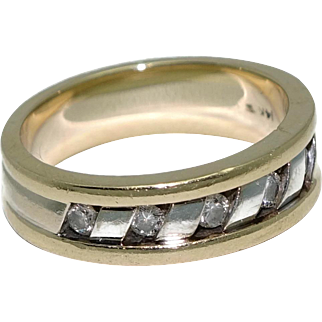 14K Two-Tone Gold and Channel Set Diamond Band Ring