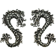 Spectacular Doris Silver Repoussé Plumed Serpent Belt Buckle / Set of Two Pins Pre-1948 Mexican