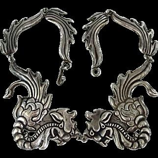 Spectacular Early Mexican Repoussé Silver Dragon Pectoral Necklace