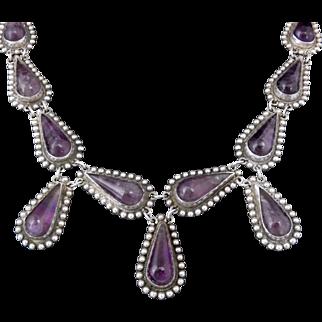 1930's Mexican Teardrop Amethyst Sterling Silver Dangles Necklace