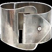"""Heavy Early Mexican Buckle Sterling Silver Bracelet 2"""" Wide"""