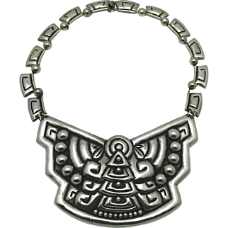 Vintage 1940's Pectoral Taxco Mexican Heavy Repousse Sterling Silver Necklace