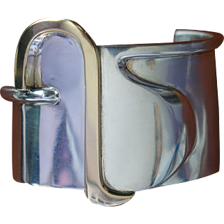 Gorgeous Rare Erika Hult de Corral Sterling Silver Gold Buckle Cuff Bracelet