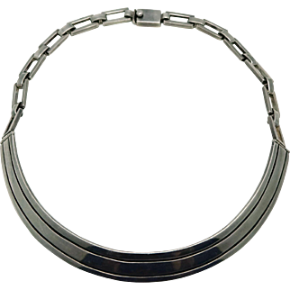 """Erika Hult de Corral """"Ric"""" Sterling Silver Taxco Mexican Modernist Necklace"""