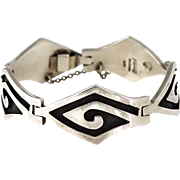 "7 5/8"" Vintage Faus Taxco Mexican Sterling Silver Modernist Bracelet"