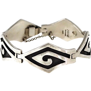 """7 5/8"""" Vintage Faus Taxco Mexican Sterling Silver Modernist Bracelet"""
