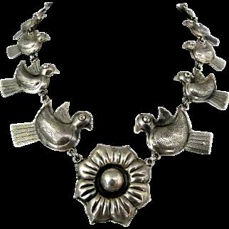 "23"" Federico Jimenez Doves Flower Repousse Sterling Silver Necklace"