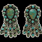 """2"""" Federico Jimenez Turquoise Sterling Silver Dangle Earrings"""