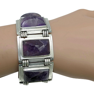 1930's Frederick Davis Amethyst Mexican Silver Bracelet
