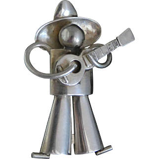Iconic 1930's Fred Davis Mexican Silver Man with Guitar Pin