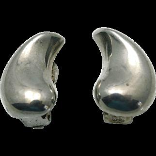 1960's Franz Scheurle German Modernist Sterling Silver Earrings
