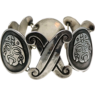 "Wide Gerardo Lopez Taxco Mexican 980 Sterling Silver Bracelet 7 5/8"""